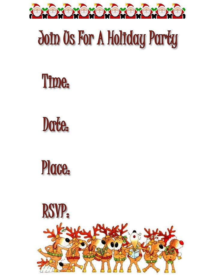 free holiday party invitations, free Christmas invitations, free ...