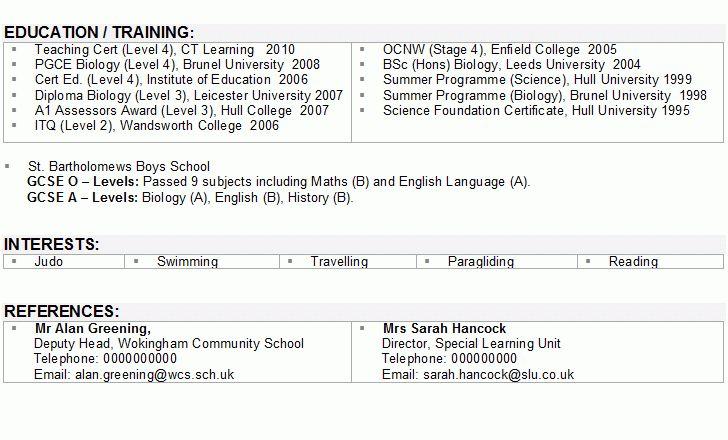 Sample CV for Teachers