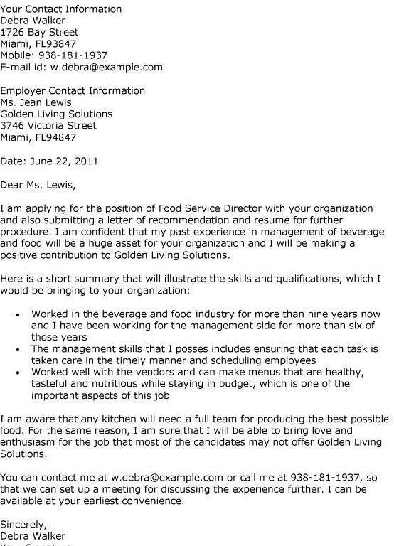 cover letter for food service