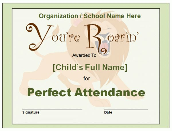 Blank And Editable Perfect Attendance Award Certificate Template ...