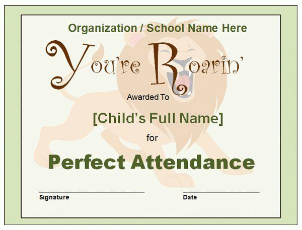 6 perfect attendance certificates | Receipt Templates