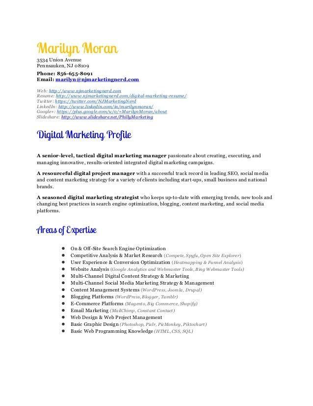 sample online marketing manager resume digital marketing manager