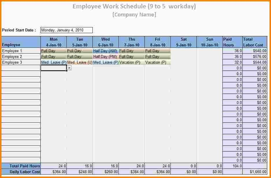 11+ employee schedule template excel | nypd resume