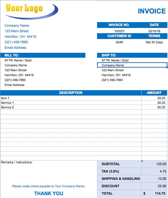 Occupyhistoryus Outstanding Free Excel Invoice Templates ...