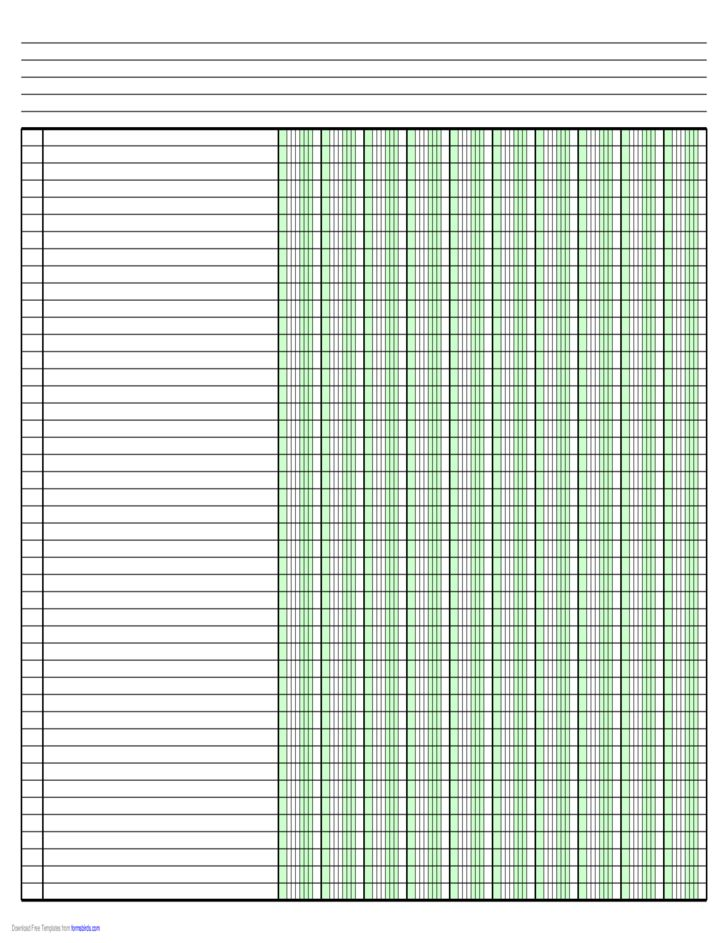 Columnar Paper with Ten Columns on Ledger-Sized Paper in Landscape ...