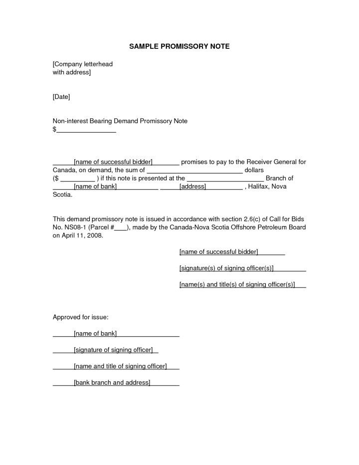 Simple Promissory Note Sample Letter | Docoments Ojazlink