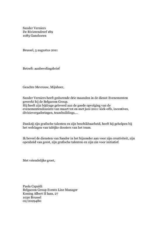 Letter Of Recommendation Former Employer - Cover Letter Templates