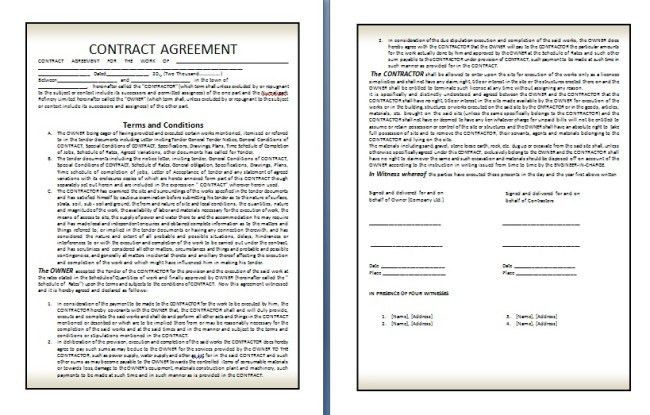 Qualified Contract Agreement Template Example in Two Page with ...