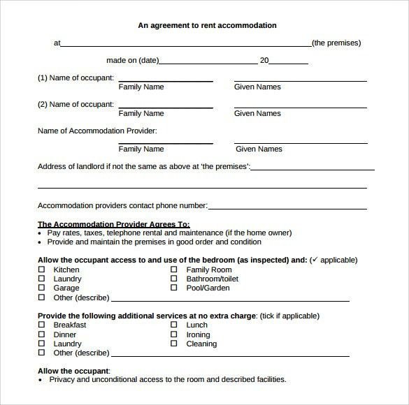 Free Editable Rental Agreement Template for Accommodation with ...