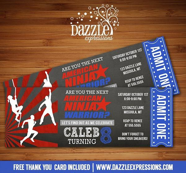 Printable Kids American Ninja Warrior Inspired Chalkboard Ticket ...