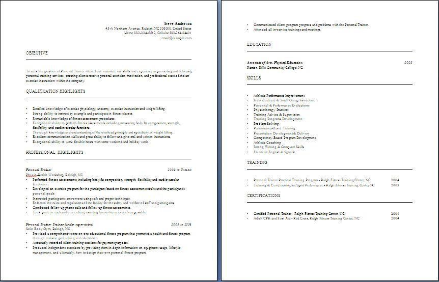 Personal Trainer Resume | Free Layout & Format