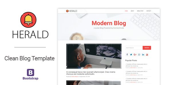 Herald Modern and Clean Blog HTML Template by konnectCode ...