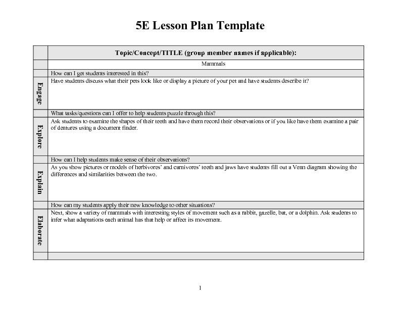 5E Lesson Plan Template | Best Example Of Business Template