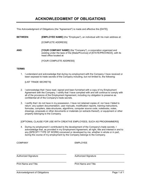 Acknowledgment Of Obligations Contract - Template & Sample Form ...