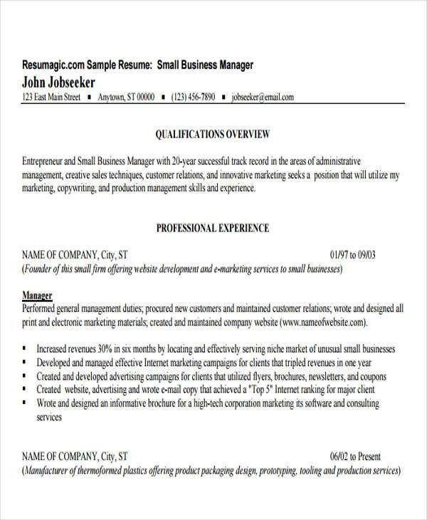 Business Resume Sample | Free & Premium Templates