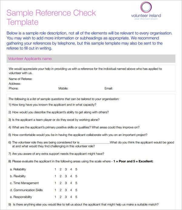 Reference Check Template. Tailored Workforce Pty Ltd Reference ...