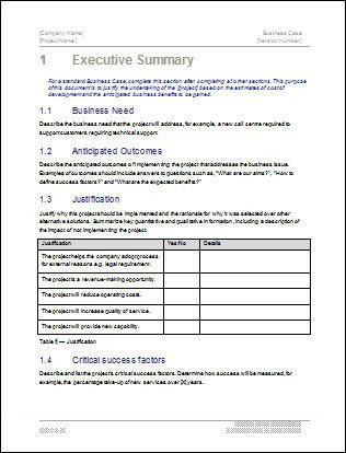 Business Case Template - 22 pages MS Word with Free Sample Materials
