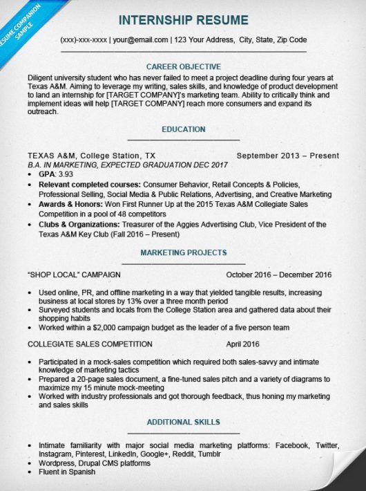 College Student Resume Sample & Writing Tips | Resume Companion