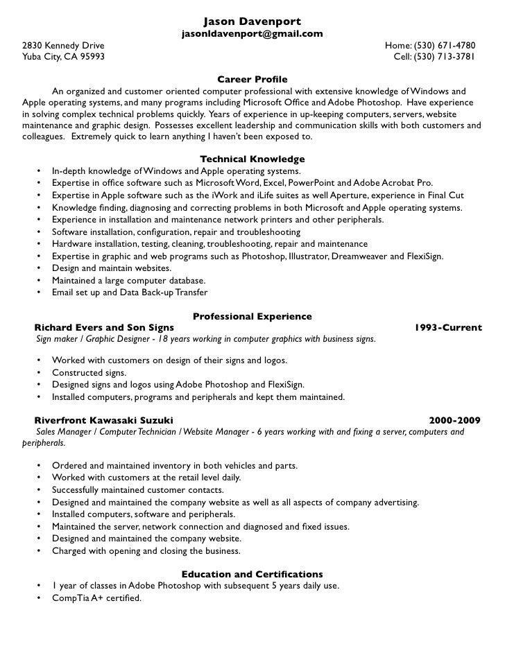 Computer Service Repair Sample Resume - Resume Templates