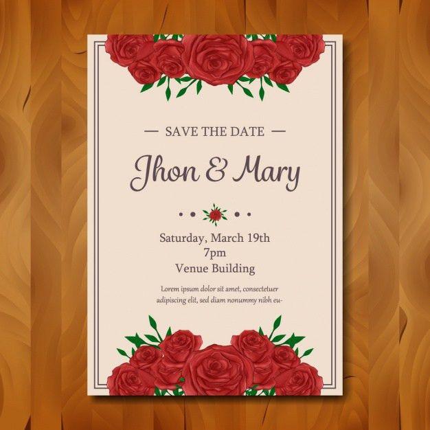 Floral wedding invitation design Vector | Free Download