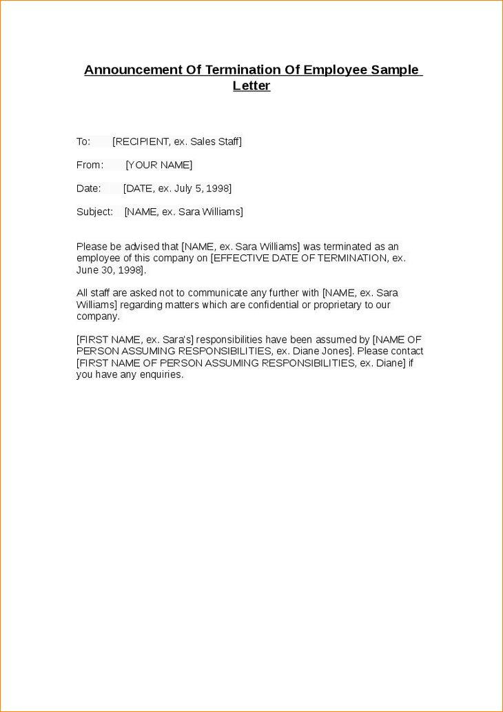 formal employee termination letter template download for free ...