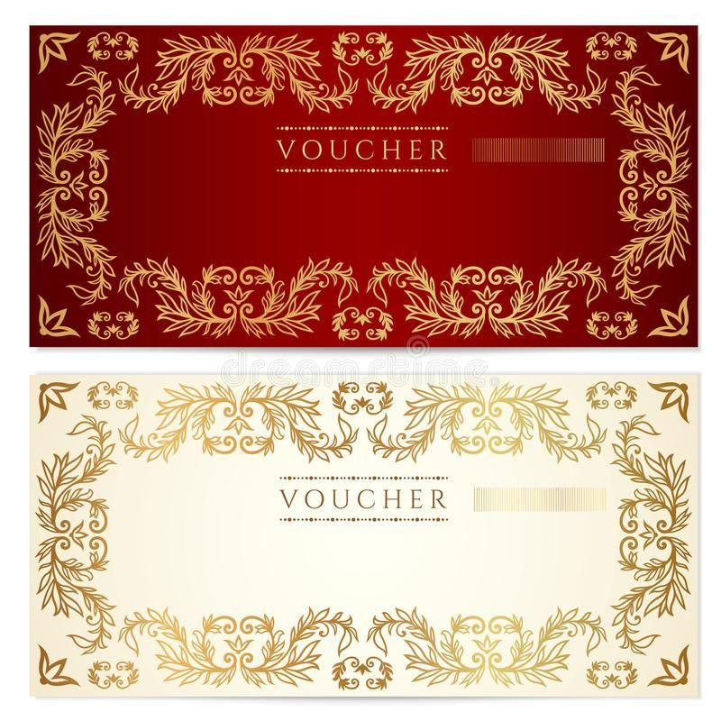 Voucher (gift Certificate) Template. Gold Pattern Royalty Free ...