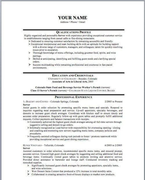 lead server resume