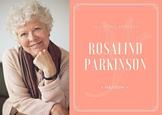 Salmon Old Woman Vintage Elegant Obituary Card - Templates by Canva