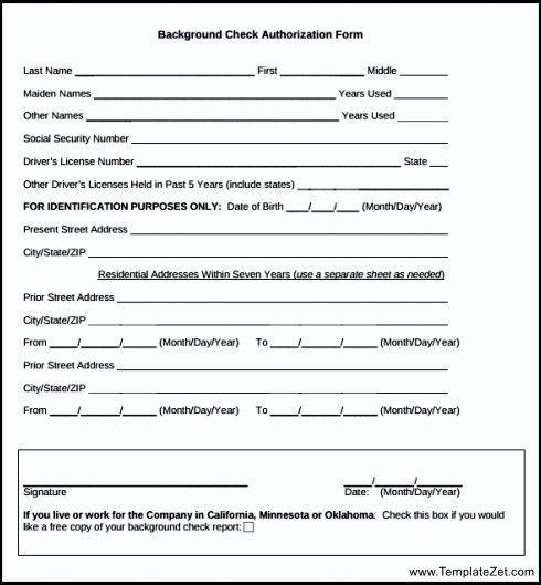 Sample Background Check Authorization Form | TemplateZet