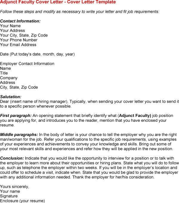 Sample Cover Letter For Adjunct Teaching Position | Docoments Ojazlink
