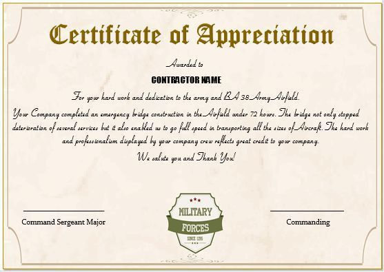 Certificate of appreciation verbiage military veterans 20 professional army certificate of appreciation templates yadclub Image collections