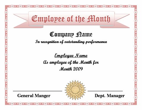 employee of the month certificate free - Template