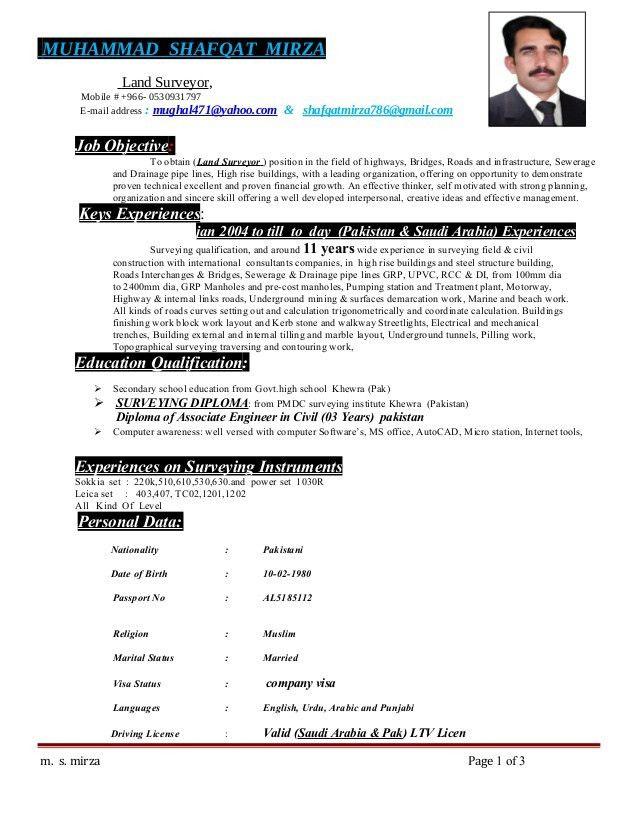C V Muhammad Shafqat mirza Land Surveyor new