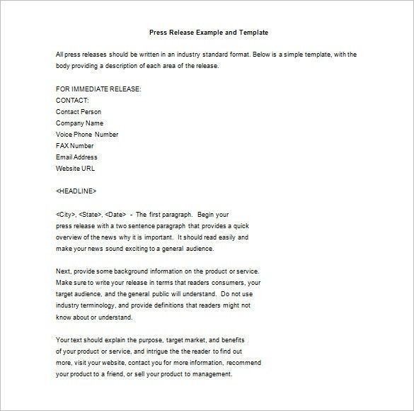 Press Release Template – 37+ Free Word, Excel, PDF Format Download ...
