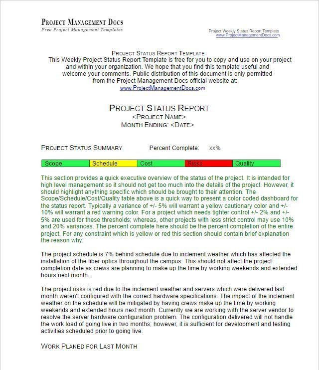 Status Report Template - 27 Examples You Can Download Free