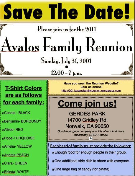 2011 avalos family reunion | The Official Site for all information ...
