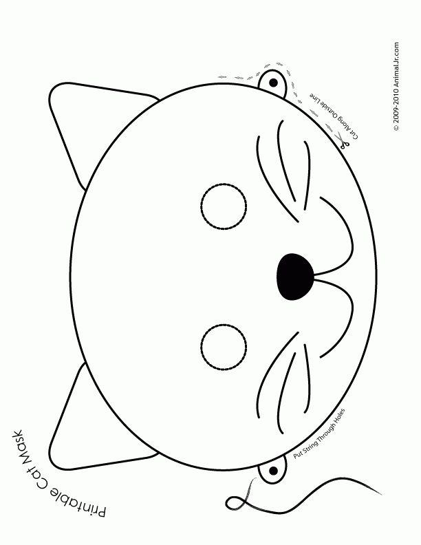 Printable Animal Masks: Cat Mask Cat Mask Coloring Page – Craft Jr ...