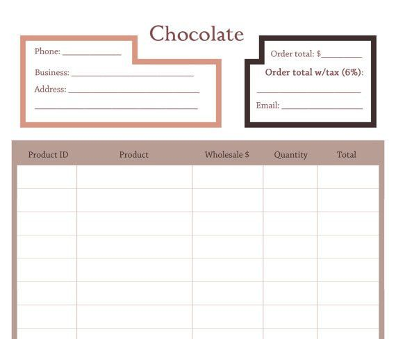 Price Sheet or Order form template for the Chocolate line