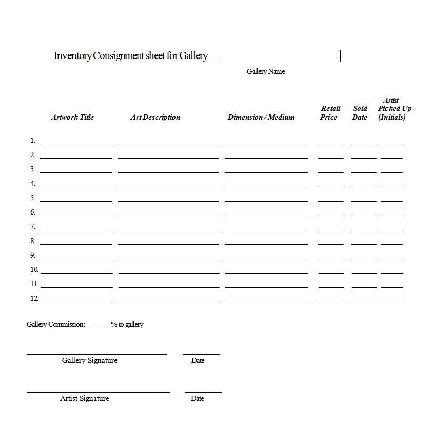 Sample Consignment Agreement. Free Consignment Contract Form ...