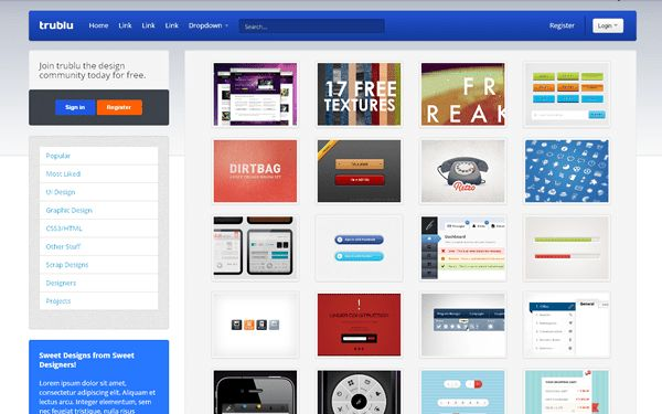 Trublu - Design Gallery Template | Bootstrap Portfolio and Resume ...