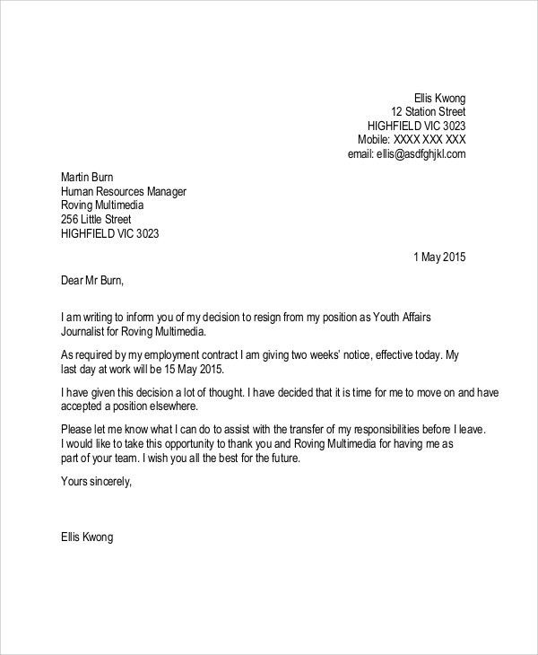 Sample Resignation Letter With 2 Week Notice - 6+ Examples in Word ...