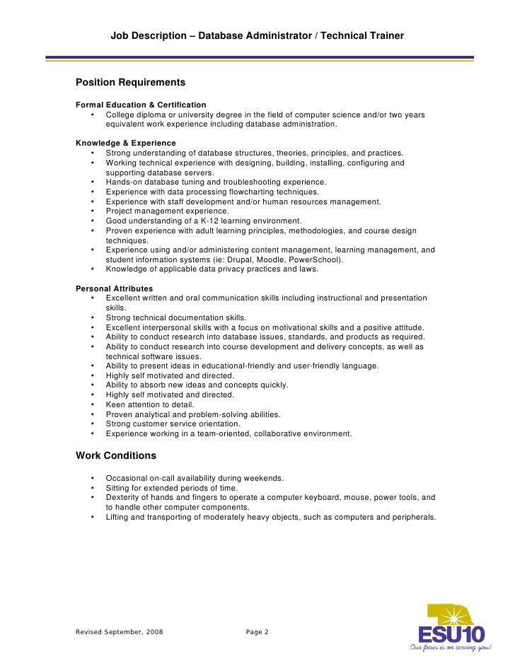 Job Description – Database Administrator / Technical Trainer