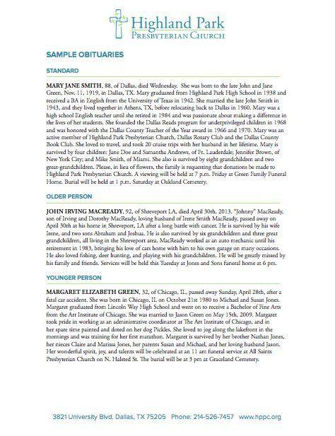 sample obituary template