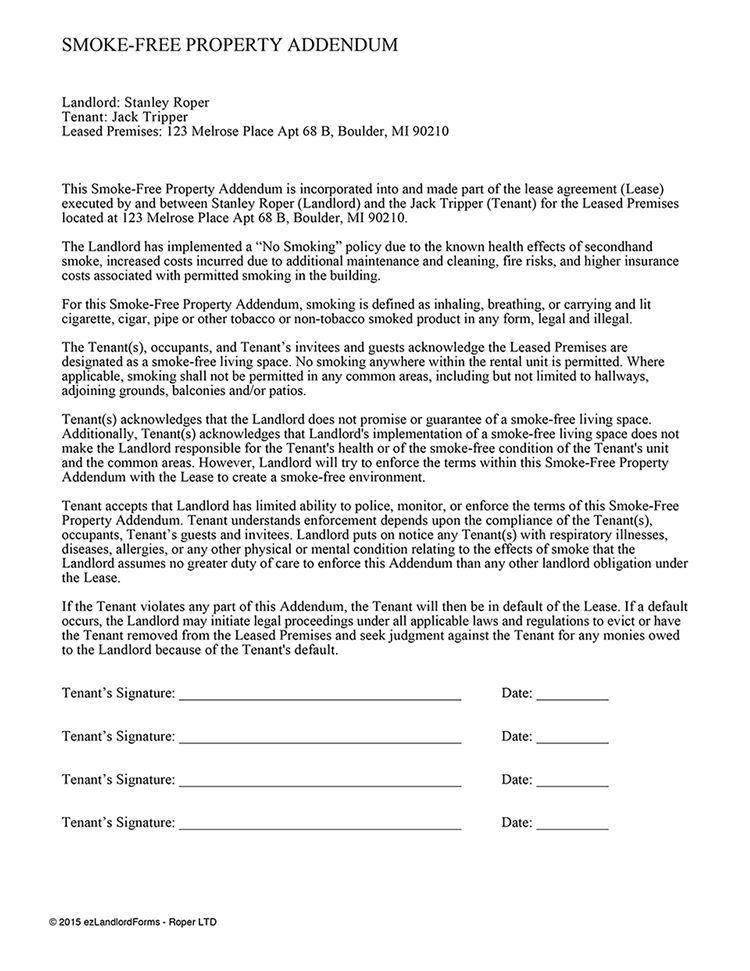 Smoke-Free Property Addendum | EZ Landlord Forms