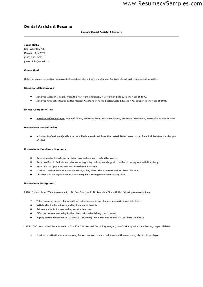 Dental Resume Template. Www Resumecareer Dental Hygienist Resumes ...