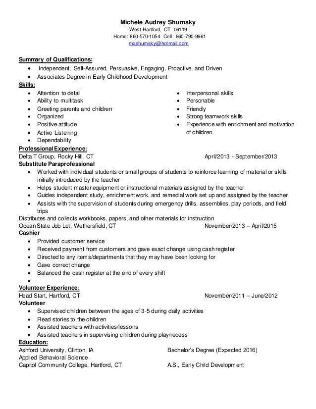 Michele Audrey Shumsky - Childcare Resume - Linked In