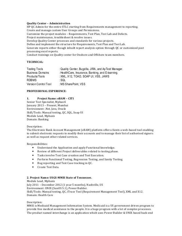 1 Year Experience Resume Format For Manual Testing - Contegri.com