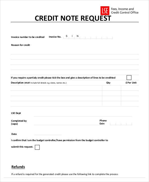 7 Credit Note Templates - Free Sample, Example Format Download ...