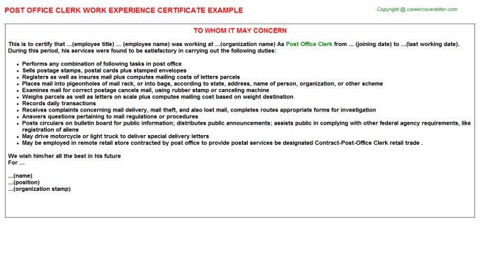 Post Office Clerk Work Experience Certificate