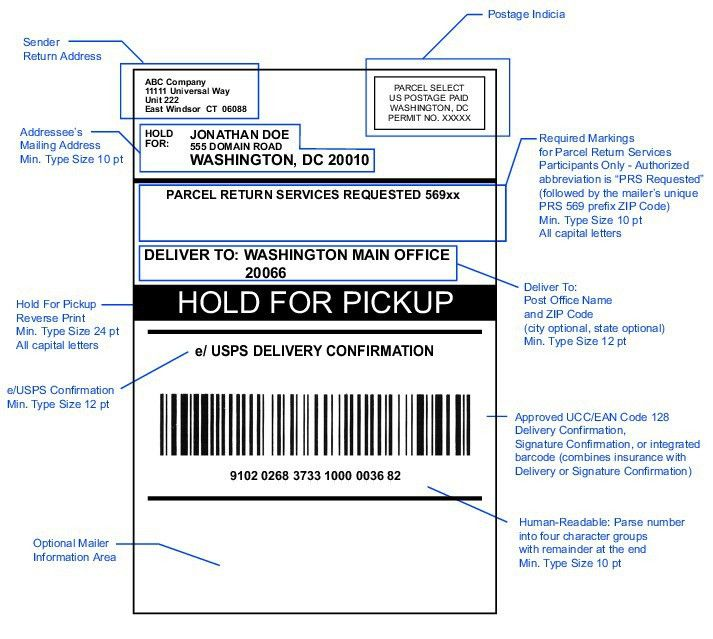 Shows the format for a Hold For Pickup address label.